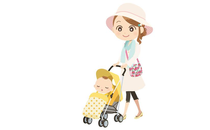 ベビーカーを楽々押す、ママと赤ちゃんのイメージイラスト