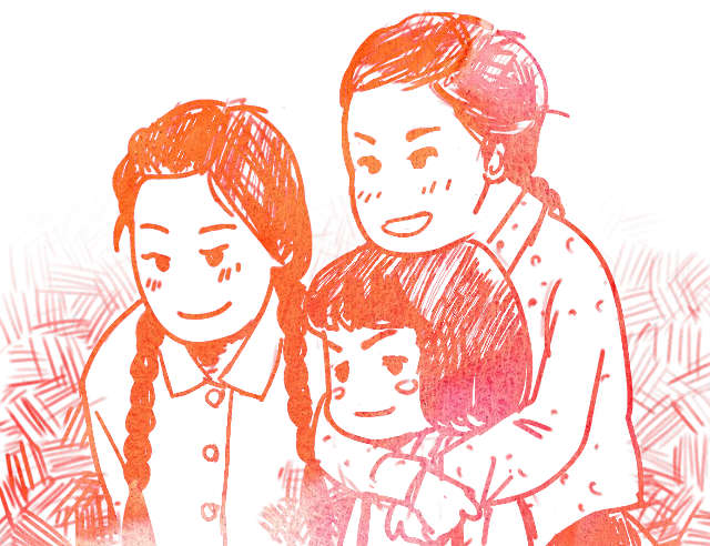 小橋家 三姉妹のイラスト