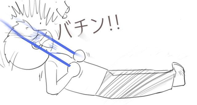 トレーニングチューブによる事故 イラスト解説2